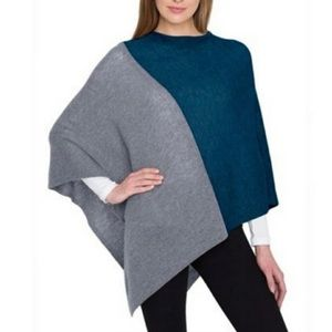 CELESTE Wool Cashmere Colorblock pullover Poncho